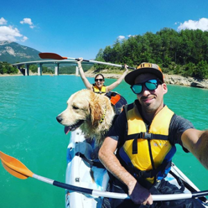 kayak con perro